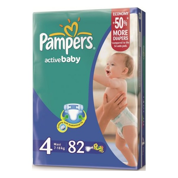 Подгузники Pampers Active Baby Giant 7-18 кг, 82 шт