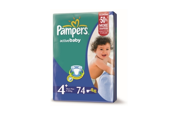 Подгузники Pampers Active Baby Giant 9-20 кг, 74 шт